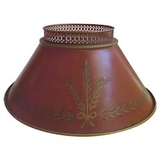Vintage Tole Red Lamp Shade with Wheat Sheath Student Lamp