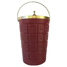 Vintage Mid Century Lustro Ware Red Plastic Quilted Ice Bucket Champagne Cooler