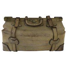 6b42237e9414 Vintage Leather Gladstone Satchel Doctor s Bag Straps Plaid Interior Luggage