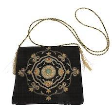 Vintage Black Velvet Handbag Bead Encrusted Gold Cord & Tassel Strap