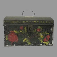 Pennsylvania Painted Toleware Domed Document Box Dome Lid 19th Century