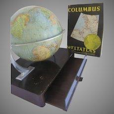 Mid Century Columbus Globe on Base with Atlas Drawer Illuminated Lights
