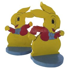 Vintage Bunny Rabbit Bookends, Hand-painted Mid-Century, Pair