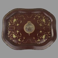 "19th Century Rare and Unusual  Papier Mache Lacquered Tray ""Quatro Centenario do Descobrimento da India"" Commemorative of 400th-Year Anniversary of Discovery of India by Vasco Da Gama"