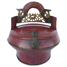 Vintage Chinese Red Lacquer Carved Food Container, Oval Shaped, Brass Hardware