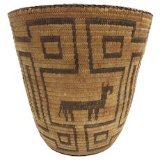Native American Pima Coiled Indian Pictorial Basket