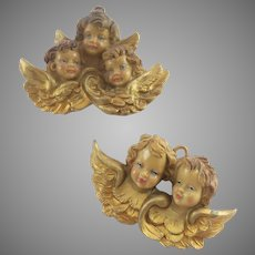 Two Vintage Made in Italy Creche Angel Ornamants