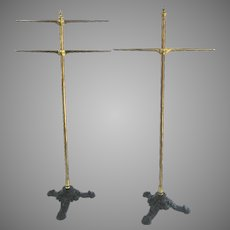 Vintage Cast Iron and Brass Clothing Racks From Neusteter's Department Store Denver Colorado Display Fittings Fixtures