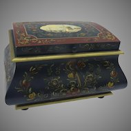Large Vintage Rosemaling Hindeloopen Painted Chest Signed Scandinavian Bombe Jewelry Box Sewing Box by G. Bootsma