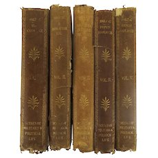 """19th Century Collection of Honore de Balzac's English Translation """"Scenes of Military & Political Life"""" 5 vol. Leather Spine"""
