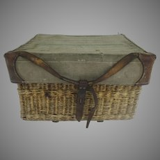 Vintage Swiss Army Wicker Basket/Hamper Leather & Fabric WWII