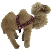 Vintage Clemens Spieltiere German Germany Camel Mohair Plush with Harness