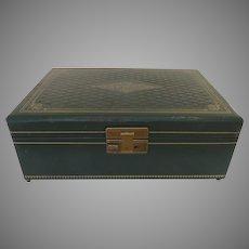 Vintage Leather Gilt Tooled Jewelry Box Music Box Thorens