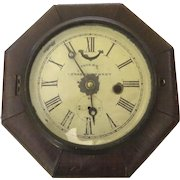 1860's Patent Lever Escapement Wall Clock Great Worn Patina