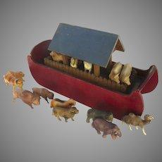 Vintage Wooden Painted Noah's Ark Celluloid Animals