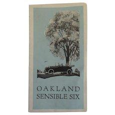 Oakland Motors Sensible Six Car Brochure 1920's