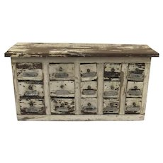 Vintage Painted Wood & Metal Hardware Drawers Bench Organizer with Labels Nuts & Bolts Cabinet