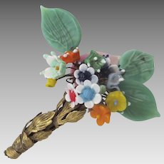 Turn of the Century Glass Flower Bouquet Pin Brooch Tussie Mussie Nosegay