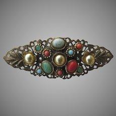 Vintage Filagree Cabochon Faux Multi Stone Pin