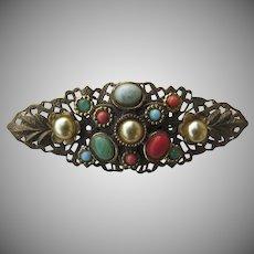Vintage Filagree Cabochon Multi Stone Pin Faux Pearl