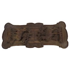 Late 19th Century Carved Wood Black Forest Deer Goat Expanding Book Shelf Holder Ends Bookstand Ibex Chamois