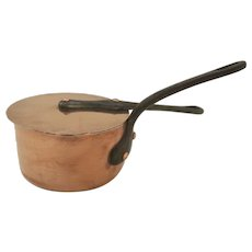 Vintage Copper Pot Saucepan Small With Lid Made in France