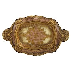 Vintage Florentine Italian Italy Gilt and Pink Tray with Handles