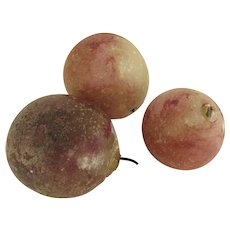 Group of Three (3) Stone Marble Fruit