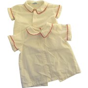 Vintage White Children's Blouses 4T and 18 - 24 Months Red Piping