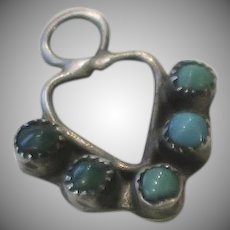 Vintage Sterling Turquoise Charm Native American Petite Point