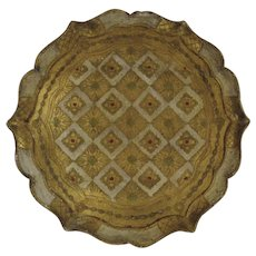 "Vintage 16"" Round Florentine Painted and Gilt Wooden Tray Italy Italian"