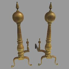 "19th Century Monumental Brass Andirons Large 38"" Tall"