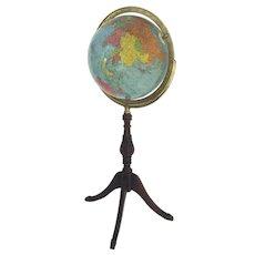 Vintage 1940s 12-Inch Globe on Floor Stand Replogle Gustav Brueckmann Cartographer