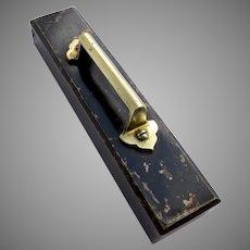 Vintage Cast Iron Paper Weight/Newsstand Weight Brass Handle