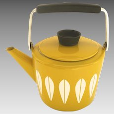 Vintage Cathrineholm Bright Yellow Lotus Enamel Tea Pot Norway
