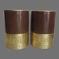 Pair of Faux Leather Embossed Paper Gilt Half Round Bookends Mid-Century Brown Greek Key