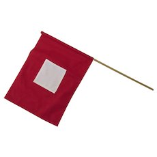 Vintage Cotton Wig Wag Hand Held Flag Signal Red White
