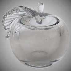 Vintage Crystal Apple with Leaf Paperweight
