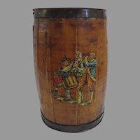 Vintage Coopered Barrel Military Fife and Drum Waste Basket Trash Bin
