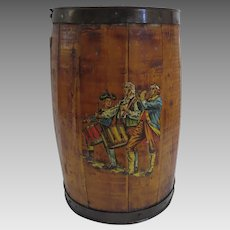 Vintage Coopered Barrel Military Fife and Drum Waste Basket Trash Bin
