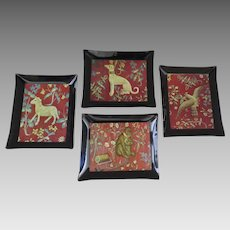 Vintage Set of Four (4) Cluny Tapestry Dog Sheep Bird Monkey Dishes Coasters