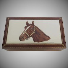 Vintage Boehm Porcelain and Leather Box Signed Horse