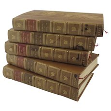5 Volumes Curiosities of Literature by Isaac D'Israeli Moxon Publishers London Leather Gilt Tooled