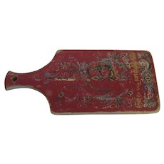 Large Vintage Rosemaling Danish Red Cutting Board Country Kitchen
