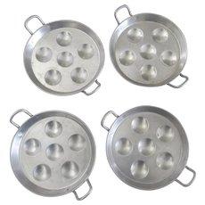 Set of Four (4) Vintage Tournus Bazar Francais Escargot Pans with Handles French