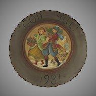 Norwegian Folk Art Vintage Painted Rosemaling Plate Plaque by Author Artist Judy Alsever