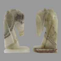 Vintage Alabaster Stone Horse Head Bookends