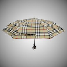 Vintage Burberry Burberry's Nova Check Collapsible Umbrella and Case