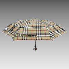 Vintage Burberry Burberry's Nova Check Collapsible Umbrella and Case
