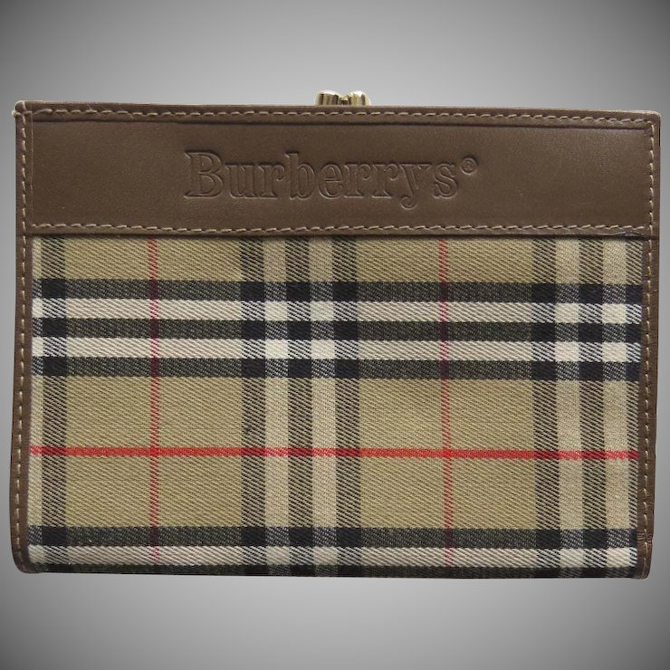 Vintage Burberry S Leather Nova Check Wallet Coin Purse Made In Italy 1990